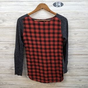 THML Heathered charcoal and Red Checkered Blouse